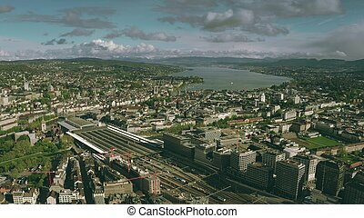 Aerial view of Zurich cityscape and the central railway station, Switzerland