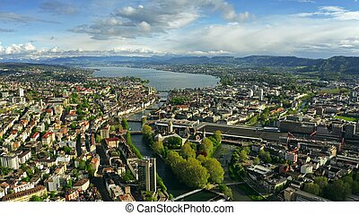 Aerial view of Zurich, the Limmat River and the Zurichsee Lake. Switzerland
