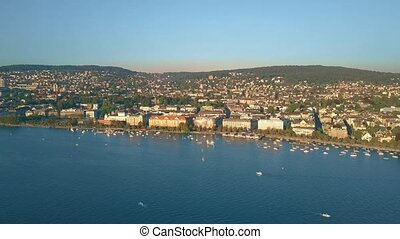 Aerial view of Zurichsee lake waterfront and Zurich...