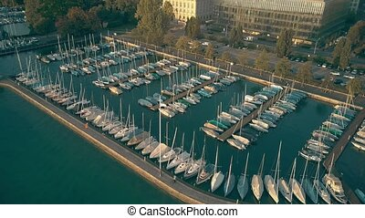 Aerial view of Zurichsee or lake Zurich marina full of...