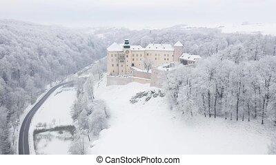 Aerial view oh historic renaissance castle Pieskowa Skala...