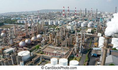 Aerial view oil and gas petrochemical industrial and Refinery factory