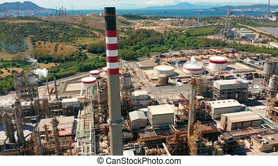 Aerial view. Oil refinery. Industrial zone. The equipment of...