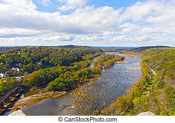 Aerial view on a trail along Potomac River and buildings...
