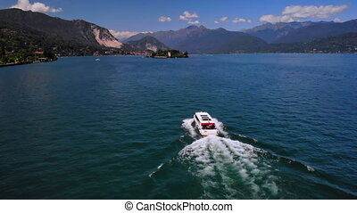 aerial view on boat with tourist - drone flying above ...