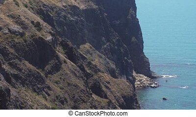 Aerial view on Cape of Fiolent. Crimea. Slow motion....