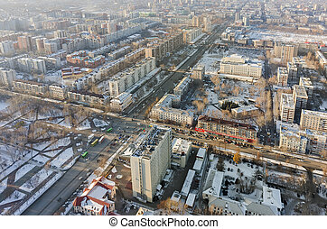 Aerial view on central residential district. Tyumen