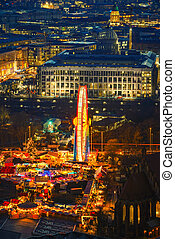 Aerial view on christmas market in Berlin at night