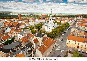 Aerial view on city hall - Chelmno, Poland.