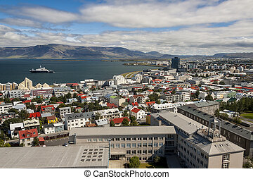 Aerial view on City of Reykjavik - Iceland.