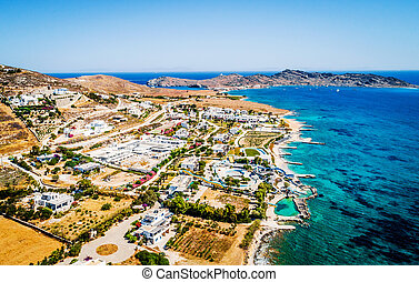 Aerial view on coastile with beautiful resorts