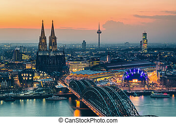 Cologne at dusk - Aerial view on Cologne at dusk