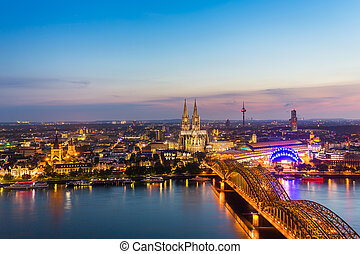 Aerial view on Cologne at dusk sunset