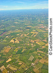 aerial view on cultivated land - aerial view on the...