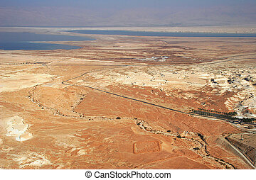 Aerial view on desert and Dead Sea.