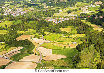 Aerial view on fields and meadows