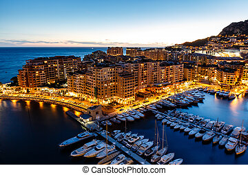 Aerial View on Fontvieille and Monaco Harbor with Luxury ...