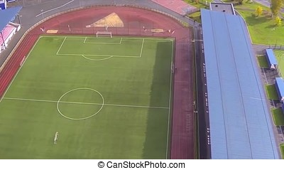 Aerial view on football field. View of soccer field from the sky. a new football field and stadium