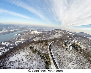 Aerial view on forest and Danube river in Hungary