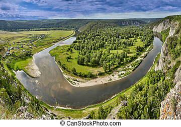 Aerial view on forest and river.