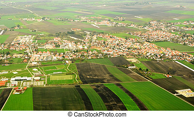 Aerial view on German countryside