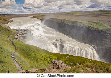 Aerial view on Gullfoss waterfall - Iceland.