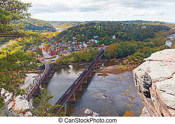 Aerial view on Harpers Ferry historic town and railroad in...