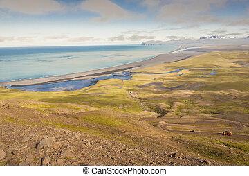 Aerial view on Heradssandur coast - Iceland.