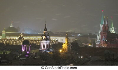 Aerial view on historic center of Moscow. Kremlin Senate,...
