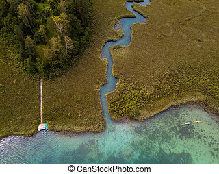 Aerial view on inflow through reeds to Lake 'Faaker See' in Carinthia (Kaernten), Austria with canoes and a jetty with a deckchair
