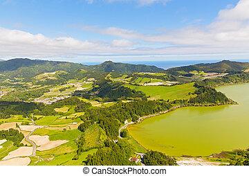 Aerial view on Lagoa das Furnas countryside on Sao Miguel Island, Portugal.