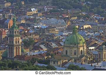 Aerial view on the old centre of Lviv in Western Ukraine, with on the left the Uspensky church and on the right the Dominican church