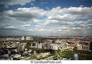 Aerial view on Moscow suburbs, Russia