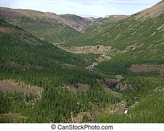 Putorana plateau - Aerial view on mountains of Putorana...