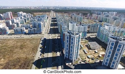 Aerial view on new living district. Aerial view of...