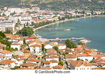Aerial view on Ohrid old town - Macedonia, Balkans.