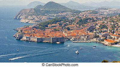 Aerial view on old part of Dubrovnik - Croatia.