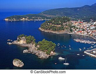 Aerial view on the village of Parga Epirus Greece