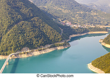 Aerial view on Piva river - Montenegro