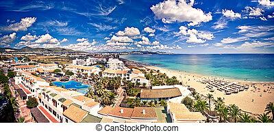 Aerial view on Playa d'en Bossa, Ibiza, Spain