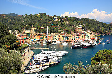 Aerial view on Portofino. Liguria, Italy. - Aerial view on...