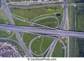 Aerial view on road junction - Aerial view on modern road...
