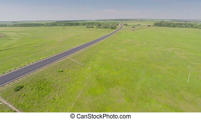 aerial view on road with cars