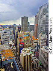 Aerial view on roofs of Lower Manhattan skyscrapers
