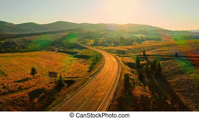 aerial view on route countryside scene - drone flies above ...