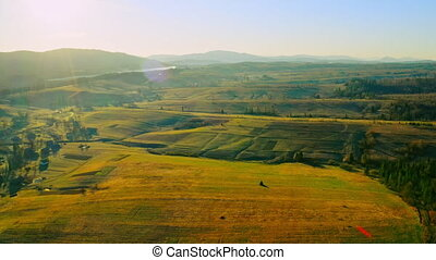 top view on fields countryside landscape in morning sun rays beautiful calm spring paysage