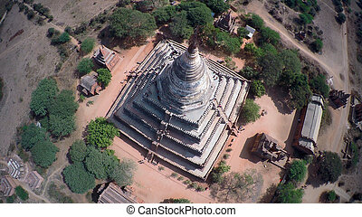 Aerial view on Shwesandaw Pagoda in Bagan