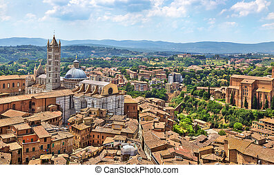 Aerial view on Siena Cathedral, Italy