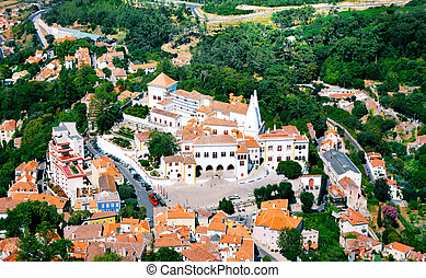 Aerial view on Sintra national palace from murish castle.