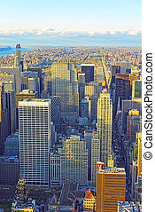 Aerial view on Skyscrapers in Midtown Manhattan and Central Park